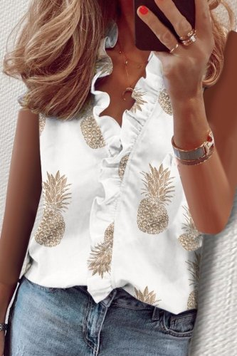 Bomshe Pineapple Print Sleeveless White Blouse(3 Colors)