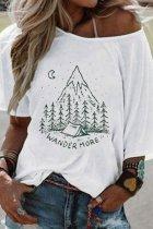 Bomshe O Neck Wander More Print White T-shirt