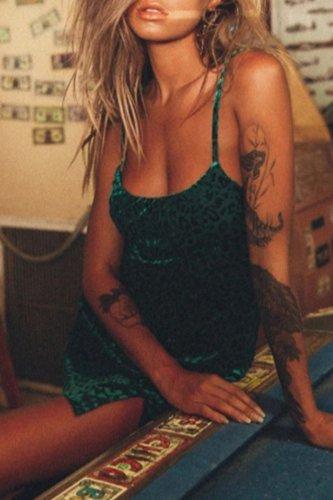 Bomshe Print Green Mini Dress