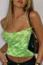 Bomshe Spaghetti Strap Tie-dye Green Camisole