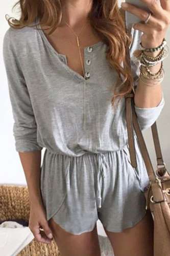 Bomshe Buttons Design Lace-up Grey One-piece Romper