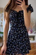 Bomshe Floral Print Black Mini Dress