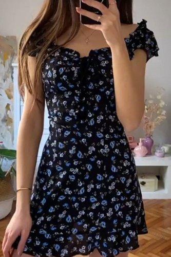 Bomshe Floral Print Black Mini Dress