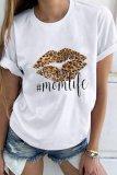 Bomshe O Neck Lip Print White T-shirt