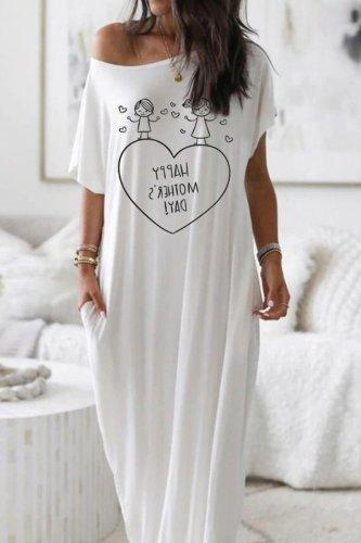 Bomshe Print White Maxi Dress