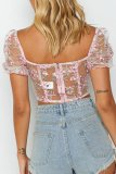 Bomshe Embroidered See-through Pink Blouse