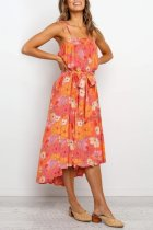 Bomshe Floral Print Red Mid Calf Dress