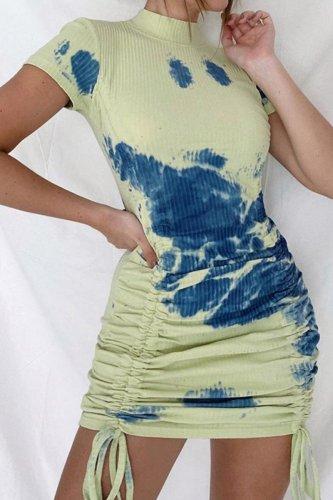 Bomshe Tie-dye Fold Design Green Mini Dress