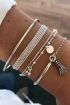 Bomshe 4-piece Silver Bracelet