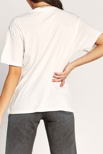 Bomshe Casual O Neck Print White T-shirt