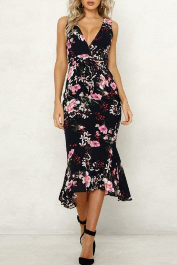 Bomshe Deep V Neck Floral Print Black Midi Dress
