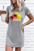 Bomshe O Neck Print Grey Mini Dress