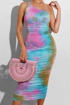 Bomshe One Shoulder Tie-dye Multicolor Midi Dress