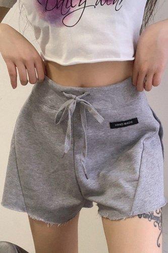 Bomshe Casual Lace-up Grey Shorts
