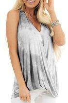 Bomshe Casual V Neck Tie-dye Grey Camisole