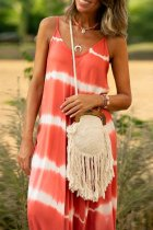 Bomshe Tie-dye Watermelon Red Maxi Dress