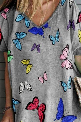 Bomshe V Neck Butterfly Print Grey Mini Dress