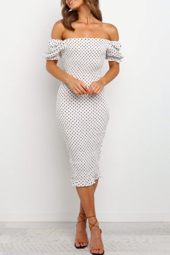 Bomshe Dew Shoulder Dot Print White Knee Length Dress
