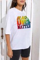 Bomshe Basic Letter Print White T-shirt
