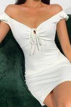 Bomshe V Neck Lace-up White Mini Dress