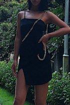 Bomshe Side Slit Skinny Black Mini Dress