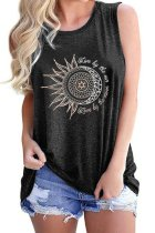 Bomshe O Neck Print Dark Grey Camisole