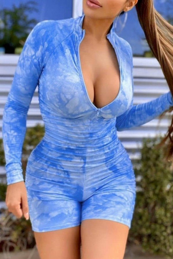 Bomshe Tie-dye Fold Design Blue One-piece Romper(2 Colors)