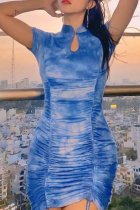 Bomshe Tie-dye Fold Design Blue Mini Dress