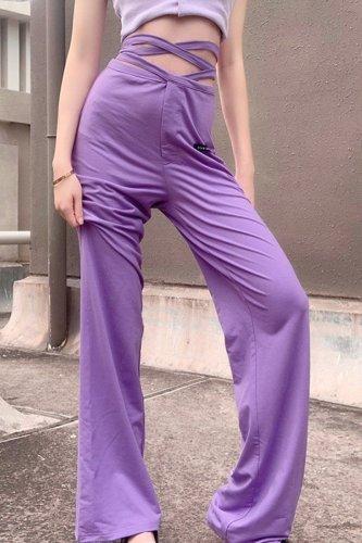 Bomshe Bandage Design Purple Pants