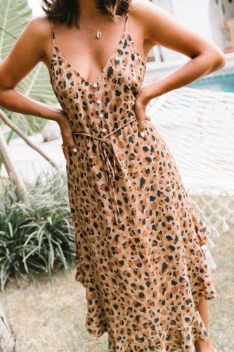 Bomshe Print Flounce Design Apricot Midi Dress
