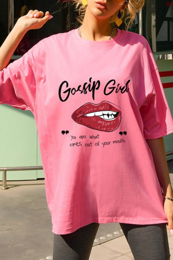 Bomshe O Neck Lip Print Pink T-shirt