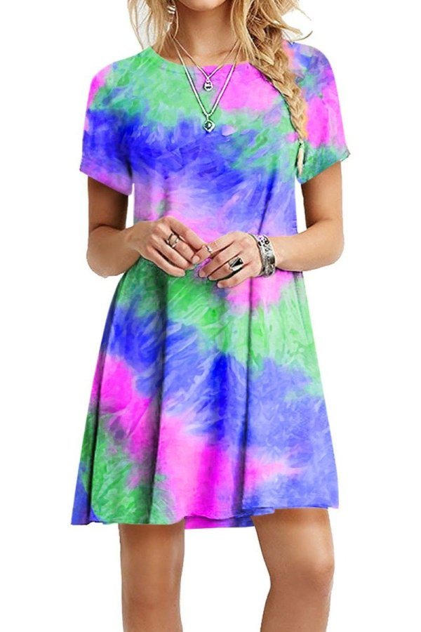 Bomshe O Neck Tie-dye Multicolor Mini Dress