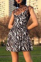 Bomshe Striped Print Black and White Mini Dress