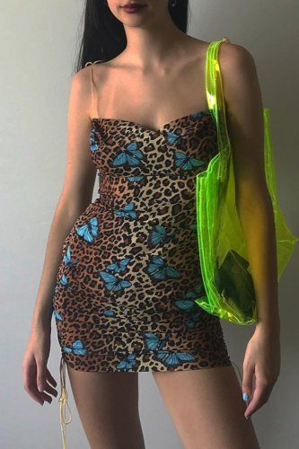 Bomshe Leopard Butterfly  Print Mini Dress