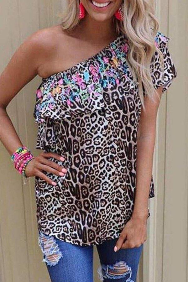 Bomshe One Shoulder Leopard Print Blouse