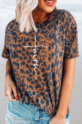 Bomshe Classic O Neck Leopard Print T-shirt