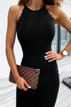 Bomshe Lace Design Skinny Black Mini Dress