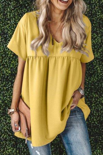 Bomshe V Neck Fold Design Yellow Blouse(3 Colors)