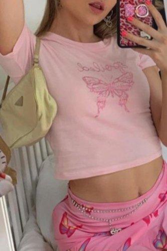 Bomshe O Neck Print Pink T-shirt