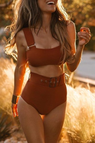 Bomshe Skinny Red Two-piece Swimsuit