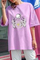 Bomshe O Neck Print Purple T-shirt