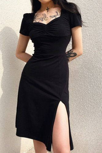Bomshe Side High Slit Black Midi Dress