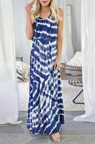 Bomshe Tie-dye Blue Maxi Dress
