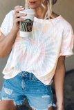 Bomshe O Neck Tie-dye Blue T-shirt