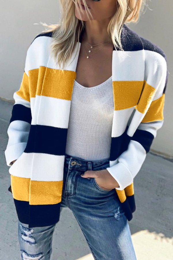 Bomshe Fashion Striped Patchwork Sweater Cardigans