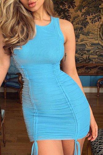 Bomshe Fold Design Blue Mini Dress
