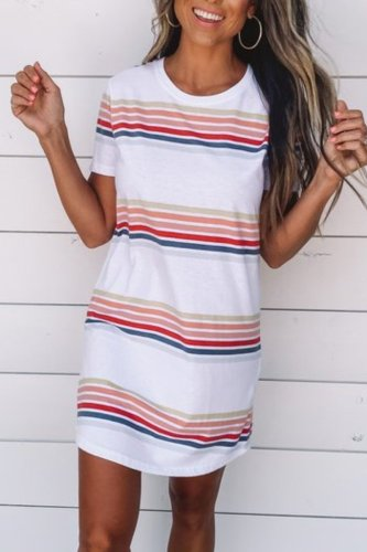 Bomshe T-shirt Style Striped White Mini Dress