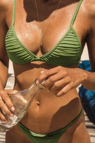 Bomshe Fold Design Green Bikini Set