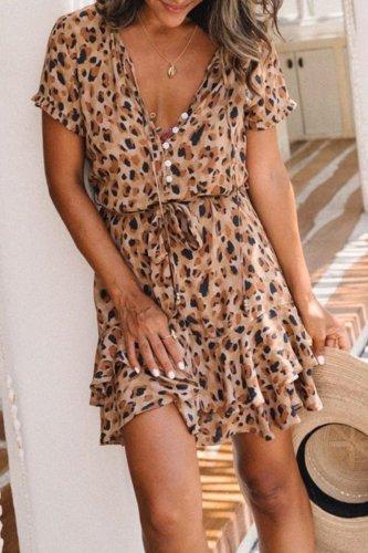 Bomshe V Neck Print Apricot Mini Dress