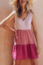 Bomshe V Neck Patchwork Pink Mini Dress